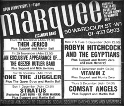 Marquee Advert NME 7/12/85
